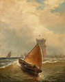 Marinha com a Torre de Belém (1884) - João Gomes da Silva Pedroso (1825-1890).png