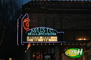 Music Millennium - Neon sign and marquee at the chain's former main store (1977–2007), in Northwest Portland