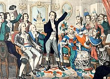 Rouget de Lisle, Composer of the Marseillaise, sings it for the first time.