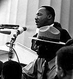 """Martin Luther King, Jr. delivers his """"I Have a Dream"""" speech at the March on Washington for Jobs and Freedom"""