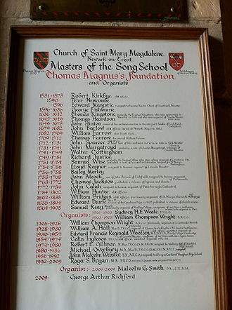 Church of St Mary Magdalene, Newark-on-Trent - Masters of the Song School, the Magnus Foundation, Newark
