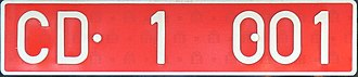 Vehicle registration plates of Spain - Diplomatic registration from Spain