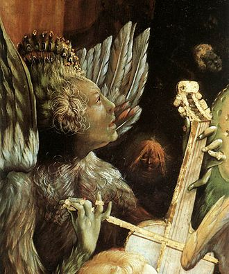 """Feather tights - Feathered """"Lucifer"""", Isenheim Altarpiece, 1515"""