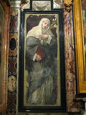 Maturino da Firenze - St. Catherine of Siena, by Polidoro da Caravaggio and Maturino da Firenze, in San Silvestro al Quirinale, Rome (c. 1525).