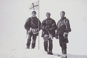Edgeworth David -  Mackay, David and Mawson raise the flag at the Magnetic South Pole 16 January 1909