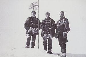 Edgeworth David -  Mackay, David and Mawson raise the flag at the Magnetic South Pole 16 January 1909
