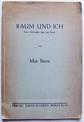 "Max Bense - ""Raum und Ich"" (""Space and Ego""), Bense's first publication (Berlin 1934)"