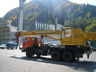 Galich, Russia - Galich-made Galichanin cranes can be encountered as far away as in Medeo, Kazakhstan