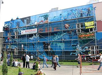 Meeting of Styles - Mural in progress at the 2006 event in Łódź, Poland
