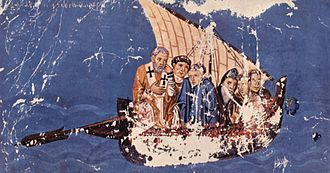 Lateen - Byzantine ship rigged with lateen (miniature from c. 880)