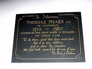 Thomas Phaer - Memorial to Thomas Phaer of Cilgerran at the Church of St Llawddog, Cilgerran