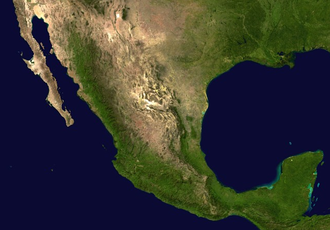 Outline of Mexico - An enlargeable satellite image of Mexico