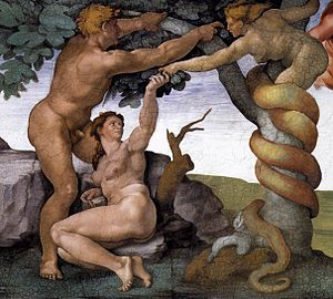 Naassenes -  Adam and Eve with the Serpent, Michelangelo