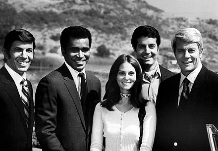Mission: Impossible: Leonard Nimoy, Greg Morris, Lesley Ann Warren, Peter Lupus, and Peter Graves (1970) Mission impossible cast 1970.JPG