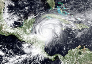 Effects of Hurricane Mitch in Honduras - Satellite image of Hurricane Mitch to the northeast of Honduras