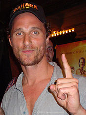 A photograph of McConaughey at the March 2005 premiere of his film, Sahara in Austin, Texas
