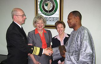 Mohamed Ibn Chambas - Mohamed Ibn Chambas receives a diplomatic delegation from the United States Africa Command led by Robert T. Moeller at ECOWAS headquarters in Abuja, Nigeria, 28 November 2007.