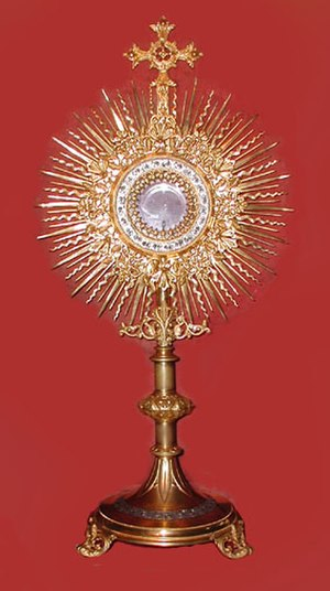 "Reserved sacrament - A traditional ""solar"" monstrance used to display the Blessed Sacrament"