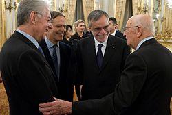 Mario Monti e il Presidente Napolitano dopo la nomina a Presidente del Consiglio dei Ministri
