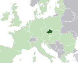 Location of Moravia in Europe