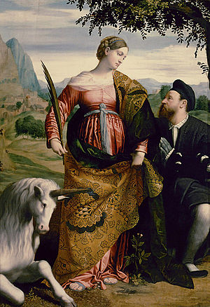 Moretto da Brescia - St. Justina, adored by the donor   Kunsthist. Mus., Vienna.