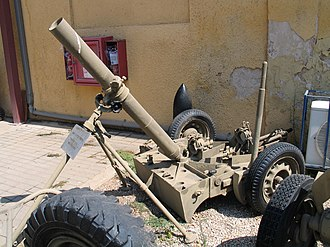 ML 4.2-inch mortar - Ordnance ML 4.2-inch mortar on mobile baseplate
