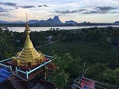 Mount Hpan Pu pagoda with Hpa-An and Mount Zwegabin.jpg