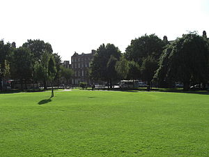 Mountjoy Square - Mountjoy Square Park, facing towards a house connected to WB Yeats, on the south-west corner