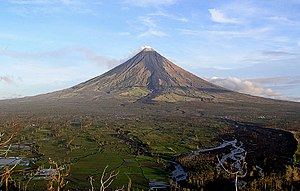 Volcanic cone - Mayon Volcano in the Philippines has a symmetrical volcanic cone