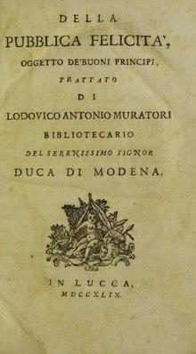 Della pubblica felicità, 1749