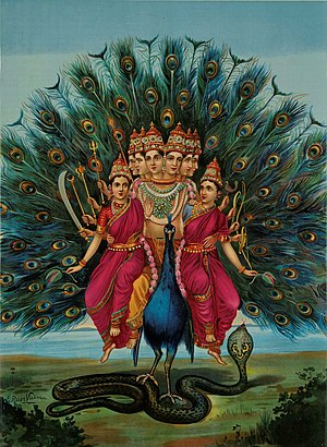 Kartikeya - The six-headed Kartikeya riding a peacock, by Raja Ravi Varma.