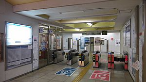 Musashi-Seki Station - Image: Musashi Seki Station ticket barriers 20121201