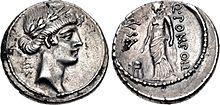 Muse Urania, Denarius, 56 B.C., Rome.jpg