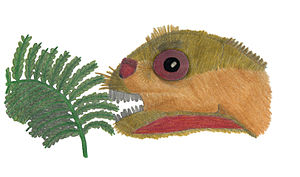 Mussaurus - Life restoration of an infant eating a Dicroidium fern