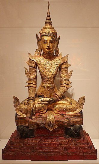 Art of Myanmar - Crowned and jeweled Buddha sitting on an elephant throne; circa 1890; Art Institute of Chicago (USA)
