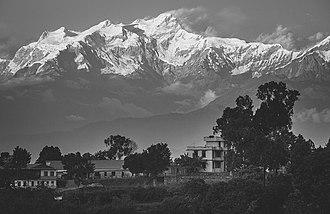 Bandipur - The Ganesh Himal mountain range as seen from Bandipur, Central Nepal. November 19, 2017