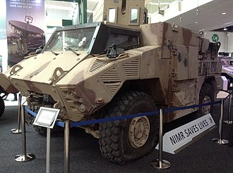 United Arab Emirates Armed Forces - Battle tested Emirati manufactured APC Nimr restored from Operation Decisive Storm on display in IDEX 2017.