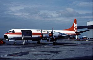 Lockheed L-188 Electra - An Electra freighter of NWT Air at Vancouver Airport in August 1983