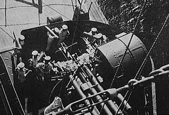 Japanese battleship Nagato - A twin 127 mm gun mount aboard Nagato