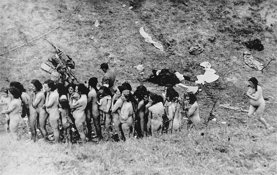 Naked Jewish women wait in a line before their execution by Ukrainian auxiliary police