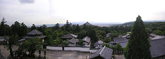 Emperor Reigen - View across the roof of Tōdai-ji becomes a panoramic vista as seen from the elevated walkway of Nigatsu-dō.