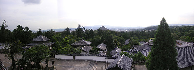 Panorama over Nigatsu-dō grounds and Nara City