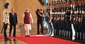 Narendra Modi inspecting the guard of honour, at the Official Welcome Ceremony, at Akorda President's Palace, in Astana, Kazakhstan. The President of the Republic of Kazakhstan, Mr. Nursultan Nazarbayev is also seen.jpg