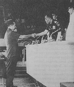 Indonesian National Armed Forces - General Nasution congratulating General Suharto on the his appointment as acting president, 12 March 1967