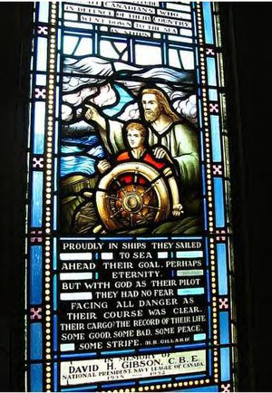 Navy League Wrennette Corp - Image: Naval Memorial Stained Glass Window, Currie Hall, Currie Building, Royal Military College of Canada