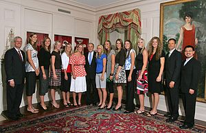 Nebraska Cornhuskers women's volleyball - The 2006 NCAA National Champion Nebraska volleyball team is honored at the White House