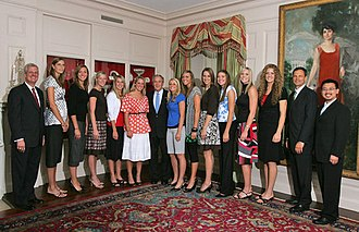Nebraska Cornhuskers women's volleyball - The 2006 NCAA Champion Nebraska volleyball team is honored at the White House