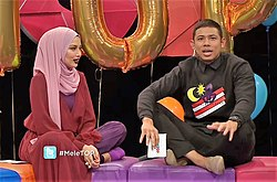 Neelofa and Nabil Ahmad on MeleTOP episode 200.jpg