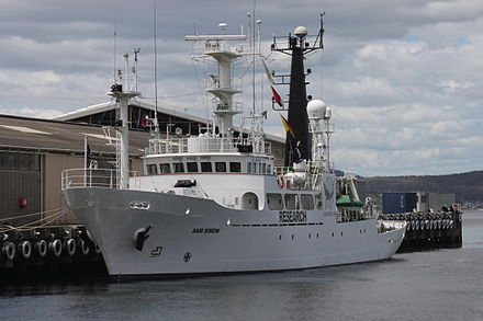 The MY Sam Simon Sea Shepherd vessel paid for by, and named after, Simon Neptune Navy - MY Sam Simon-Hobart 2012.jpg