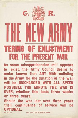 Kitchener's Army - 1914 poster describing terms of enlistment